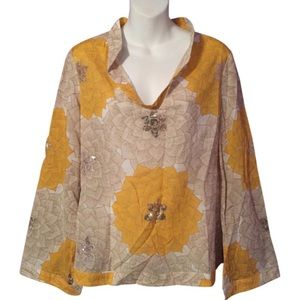 Tory Burch Yellow Tan Floral Sequin Tunic Top